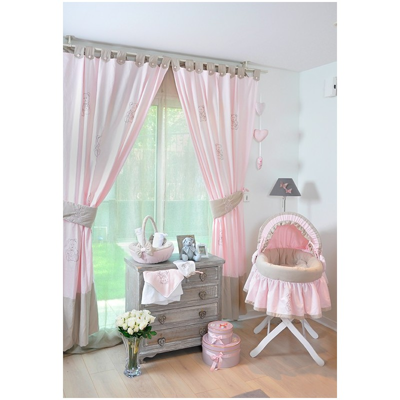 rideau chambre fille rose et gris de chambre ue rideaux de chambre collection petit ourson gris. Black Bedroom Furniture Sets. Home Design Ideas