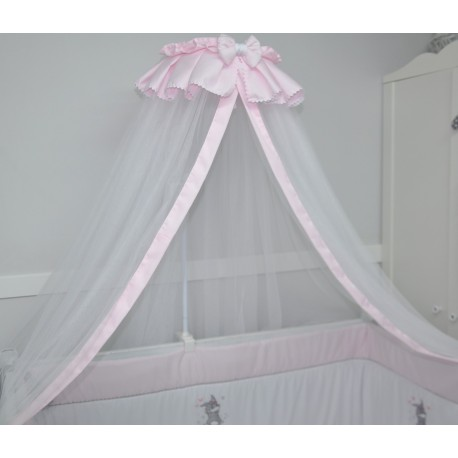 ciel de lit de b b en voile rose poudr. Black Bedroom Furniture Sets. Home Design Ideas