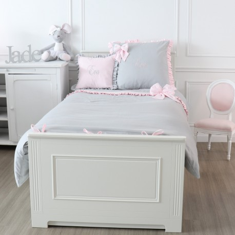 Junior bed linen set - Grey and pink