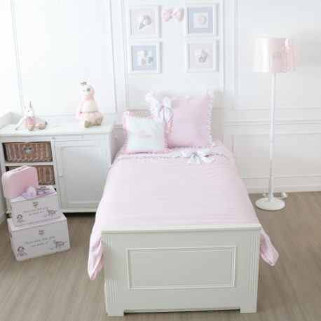 Junior bed linen set - White and pink