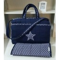 Diaper bag white and Navy Blue