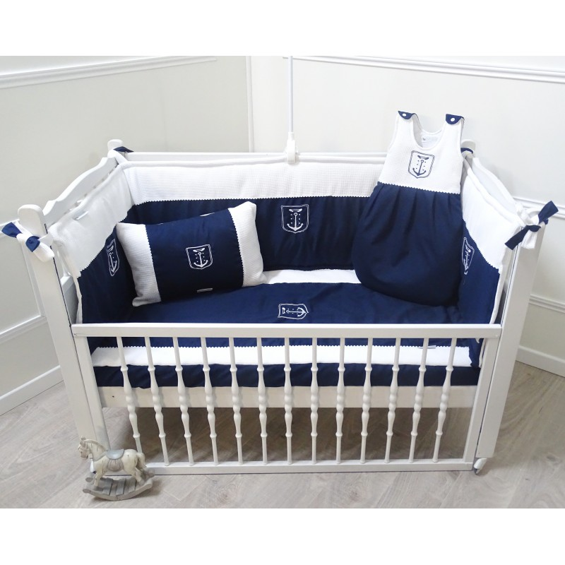parure linge de lit b b bleu marine et blanc. Black Bedroom Furniture Sets. Home Design Ideas