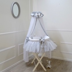 Silver grey canopy cradle - Petit coeur - by Cocon d'Amour