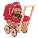 RED DOLL CRADLE HAS PEA WHITE