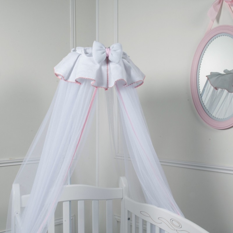 Canopy bed in white and pink crib - Ciel de lit bebe blanc ...