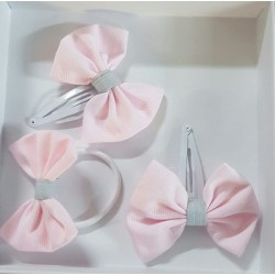 Lot de 2 barrettes à cheveux - rose-gris perle