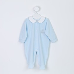 Velvet baby grow - Sky blue - by Cocon d'Amour