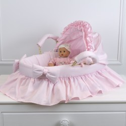 Bassinet for doll color powder pink